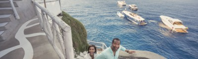 Europe, Capri, African American, couple, boats, ocean